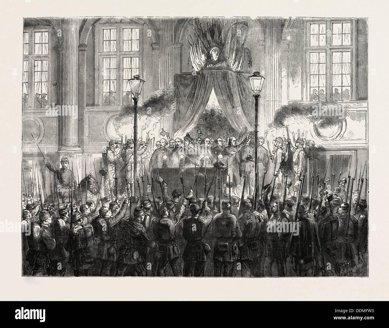 DECLARING THE RESULT OF THE PLEBISCITE IN PARIS, FRANCE, 1870 - Stock Image