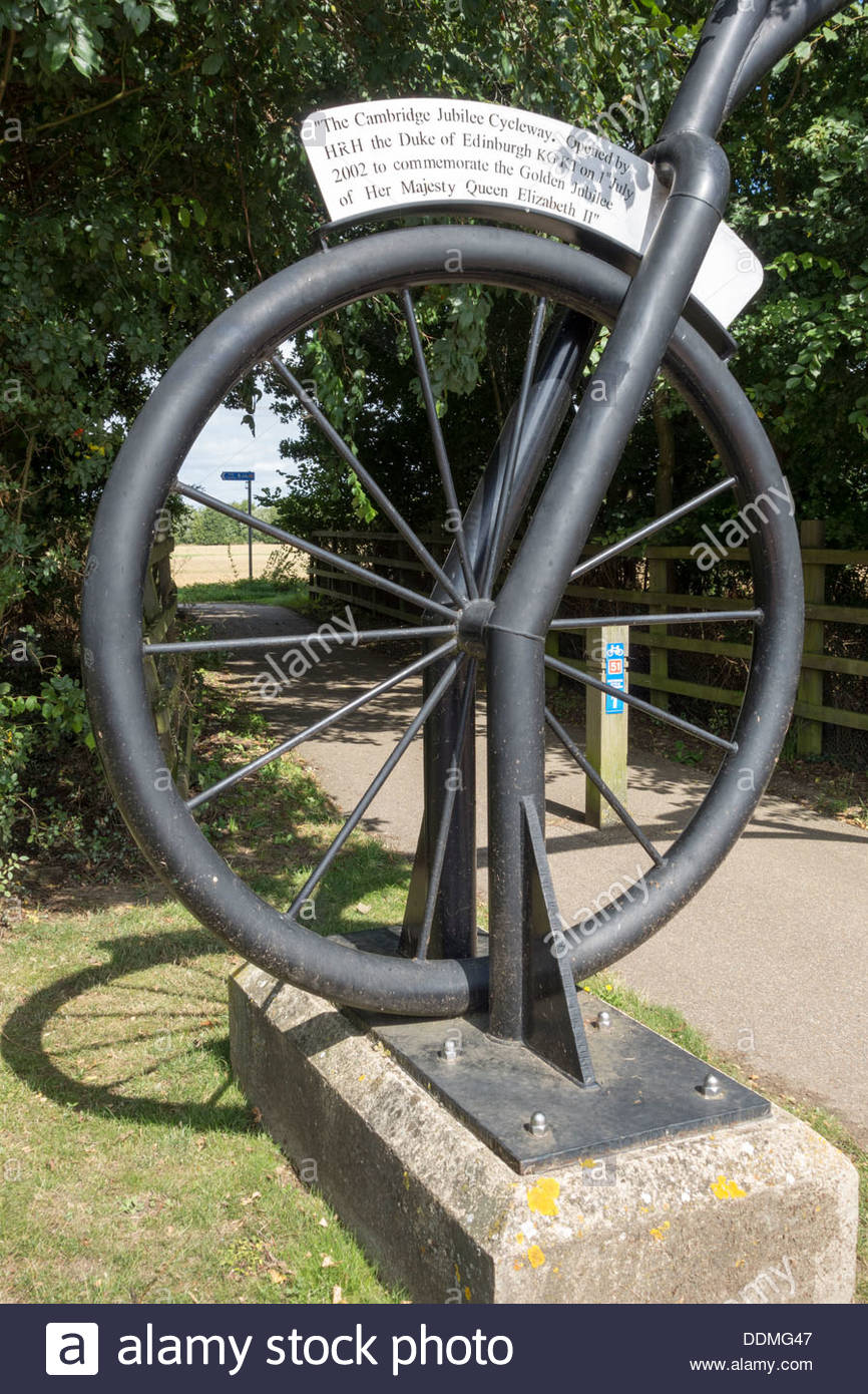 Bicycle sculpture at the Jubilee Cycle Way in Cambridge, opened by HRH Duke of Edinburgh - Stock Image