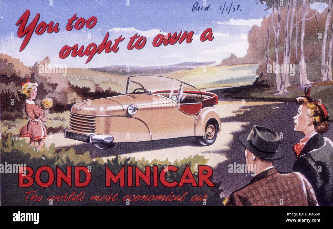 Poster advertising a Bond Minicar, 1951. - Stock Image