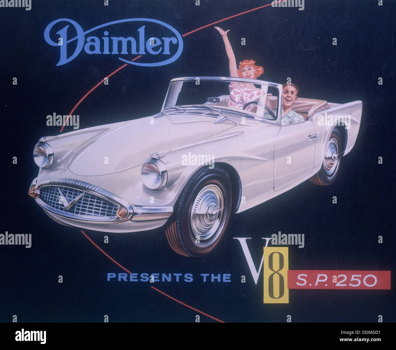 Poster advertising the Daimler V8 SP 250, 1959. - Stock Image