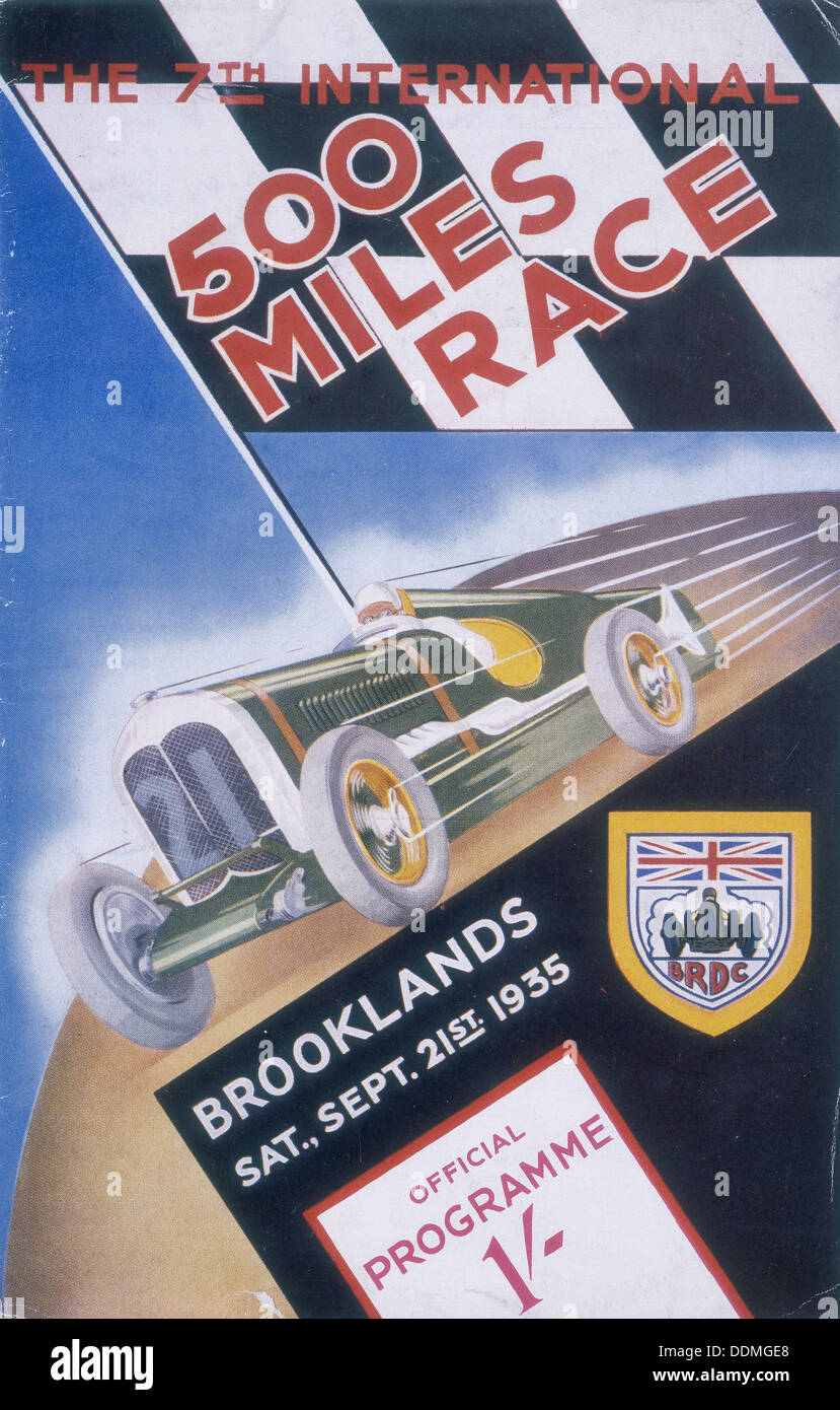 A programme for Brooklands 500 miles race, 1935. - Stock Image