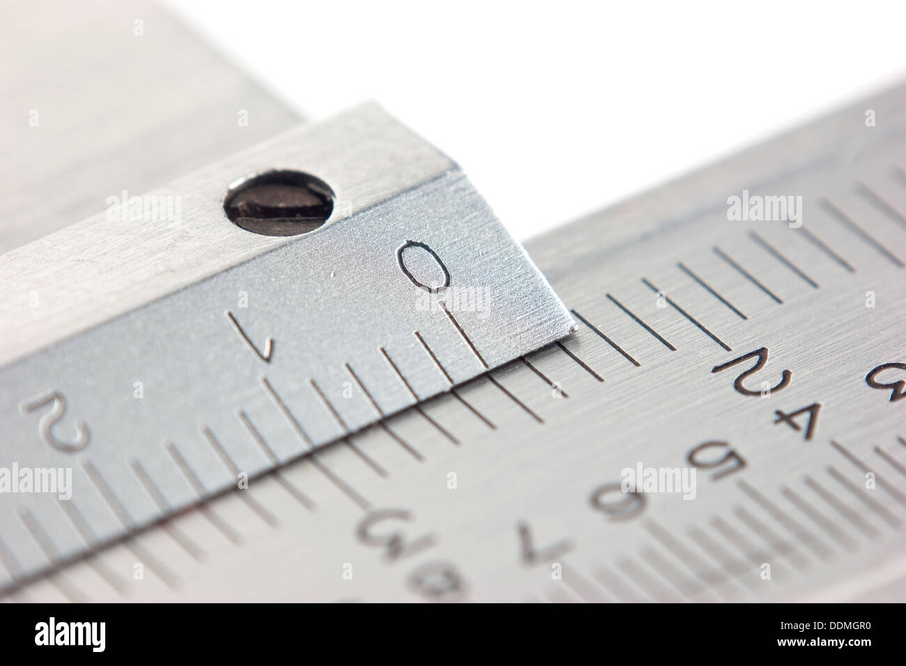 dial vernier calipers macro isolated on white background - Stock Image