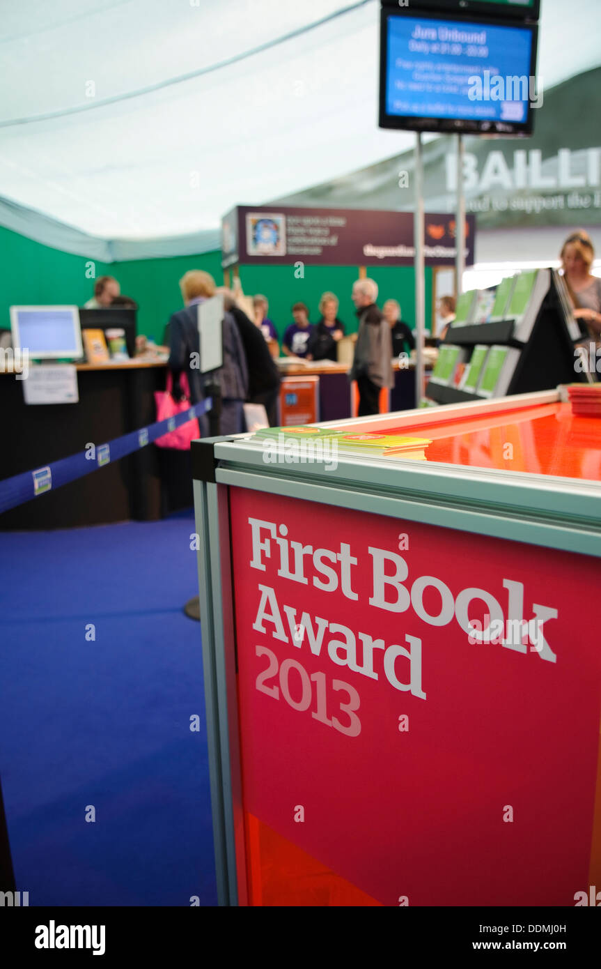 Sign for the 'First Book Award 2013' at the Edinburgh International Book Festival. - Stock Image
