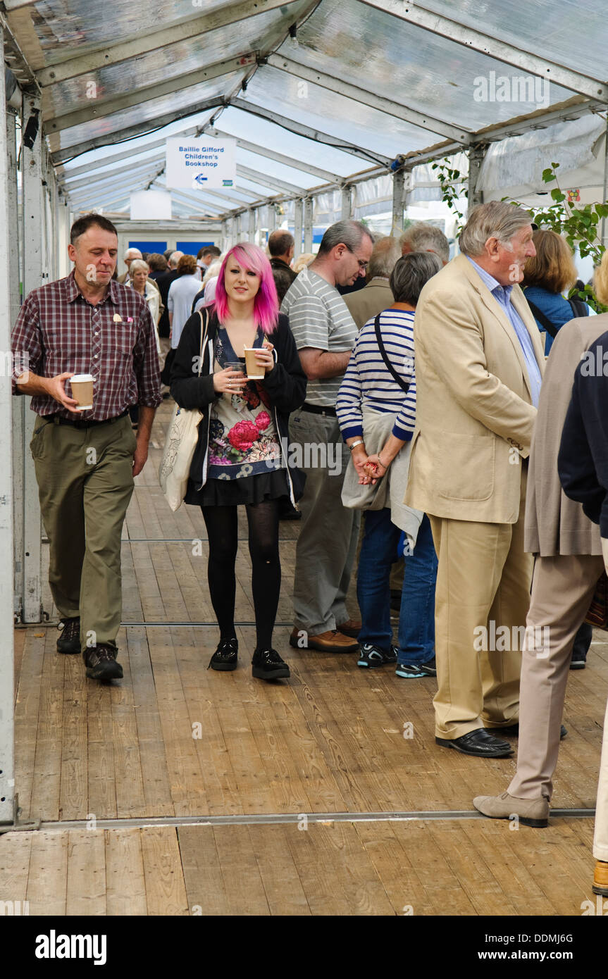 Queues at the Edinburgh International Book Festival. - Stock Image