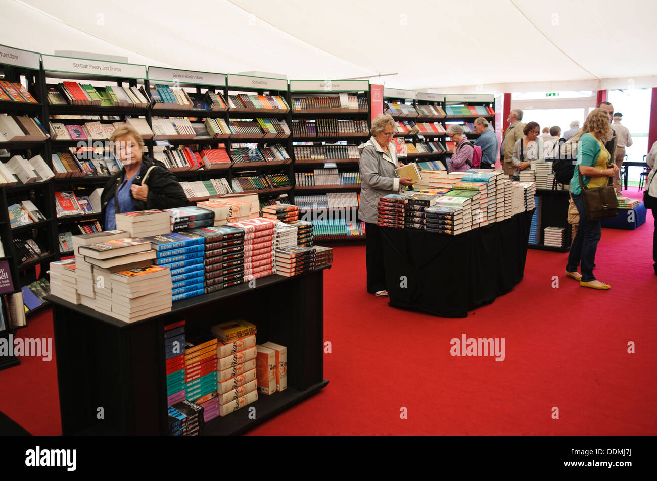 Inside the Book Tent at the Edinburgh International Book Festival. - Stock Image