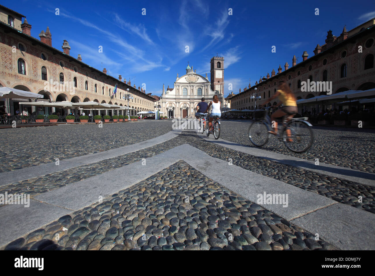 Piazza Ducale with the Cathedral facade, Vigevano, Lombardy, Italy - Stock Image