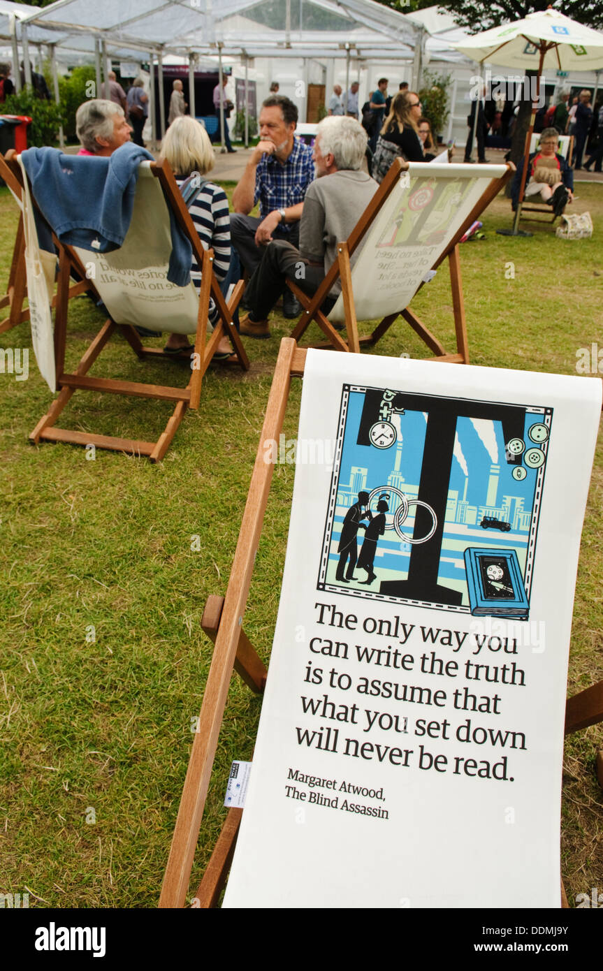 Deck Chairs at the Edinburgh International Book Festival. - Stock Image