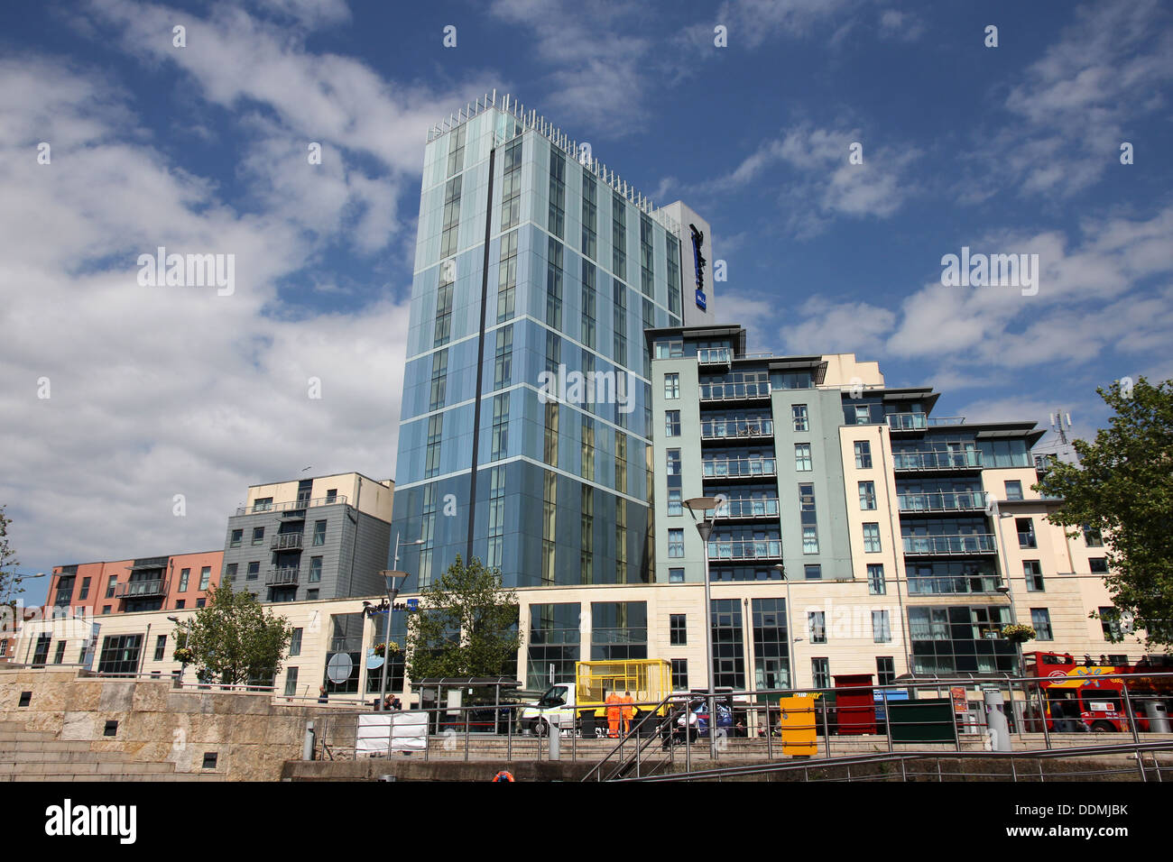 The Radisson Blu hotel viewed from below on a beautiful sunny day. - Stock Image