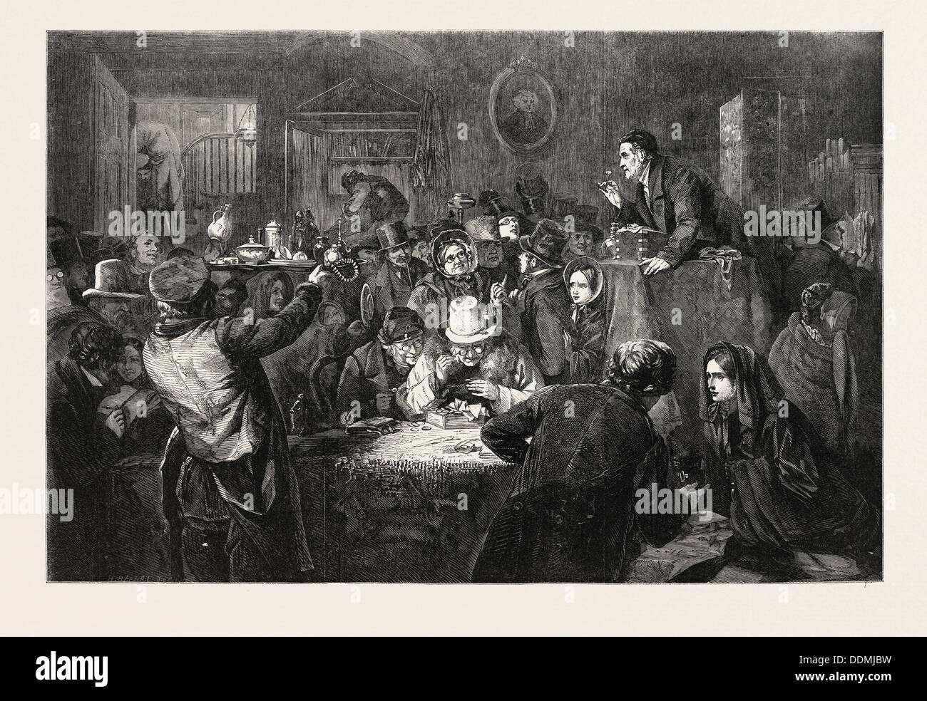 THE LAST DAY OF THE SALE, FROM A PAINTING BY G.B. O'NEILL, IN THE EXHIBITION OF THE ROYAL ACADEMY, UK, 1857 - Stock Image