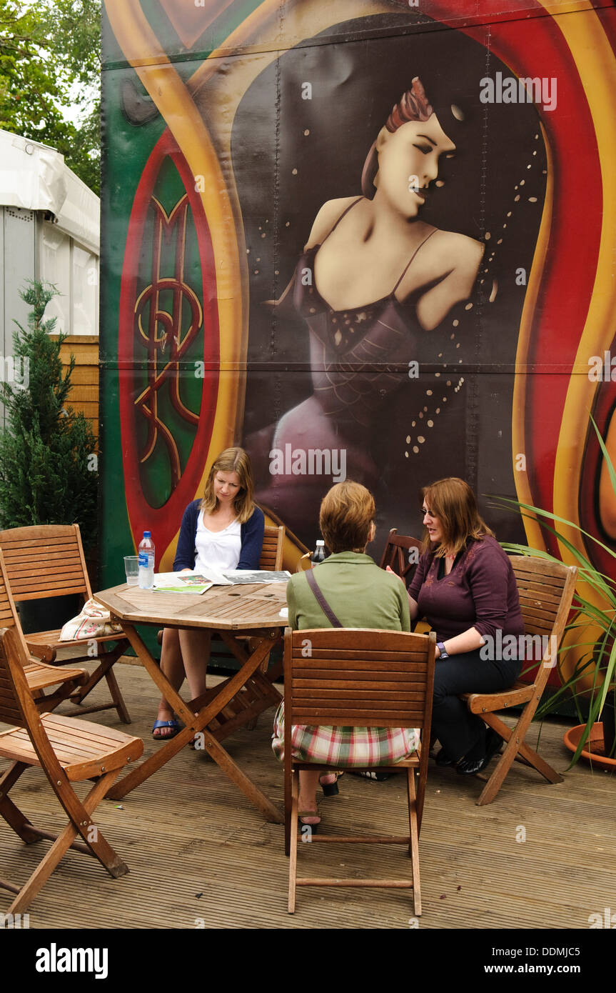 Visitors outside the Spiegeltent at the Edinburgh International Book Festival. - Stock Image