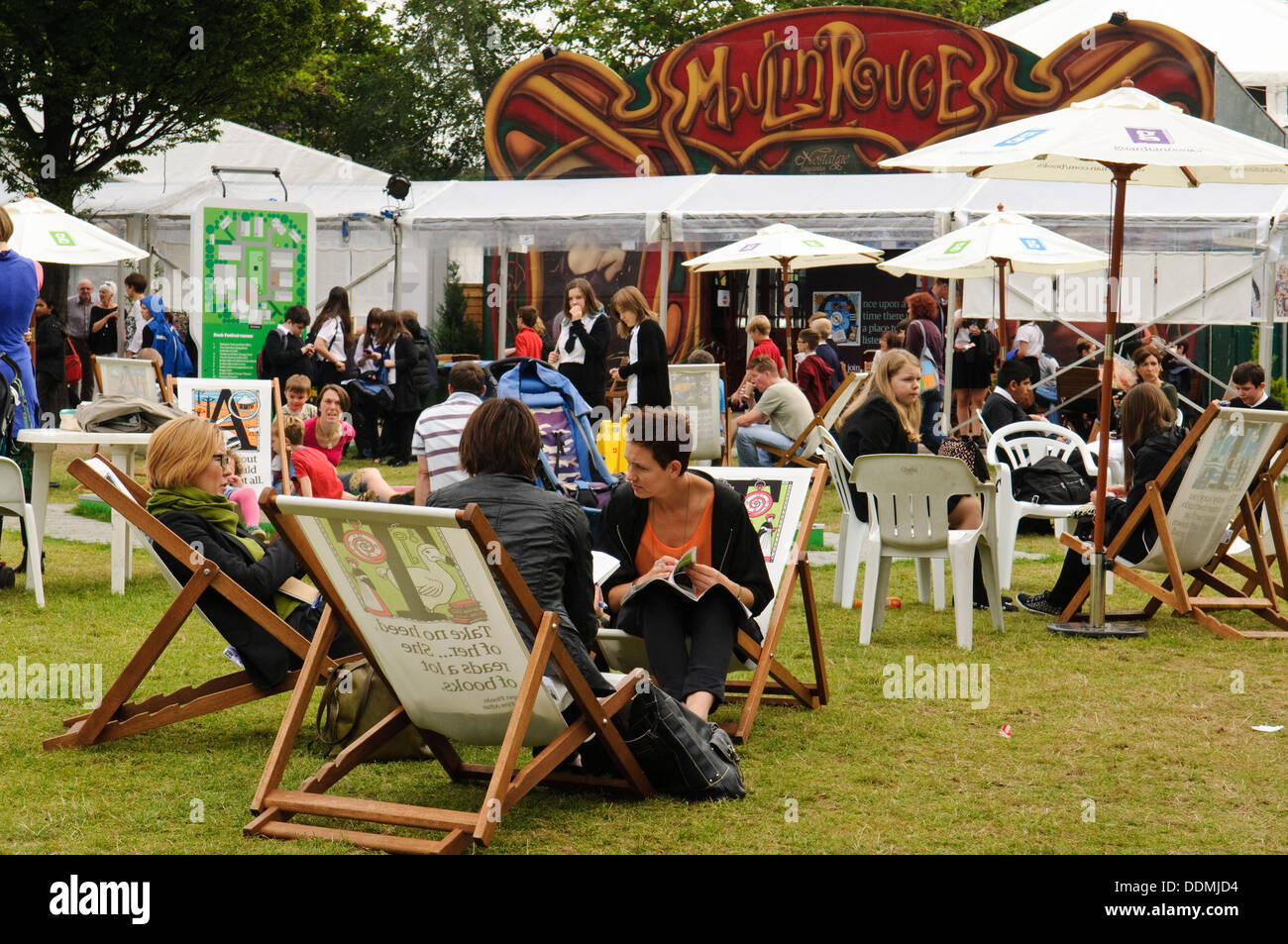 Visitors to the Edinburgh International Book Festival. - Stock Image
