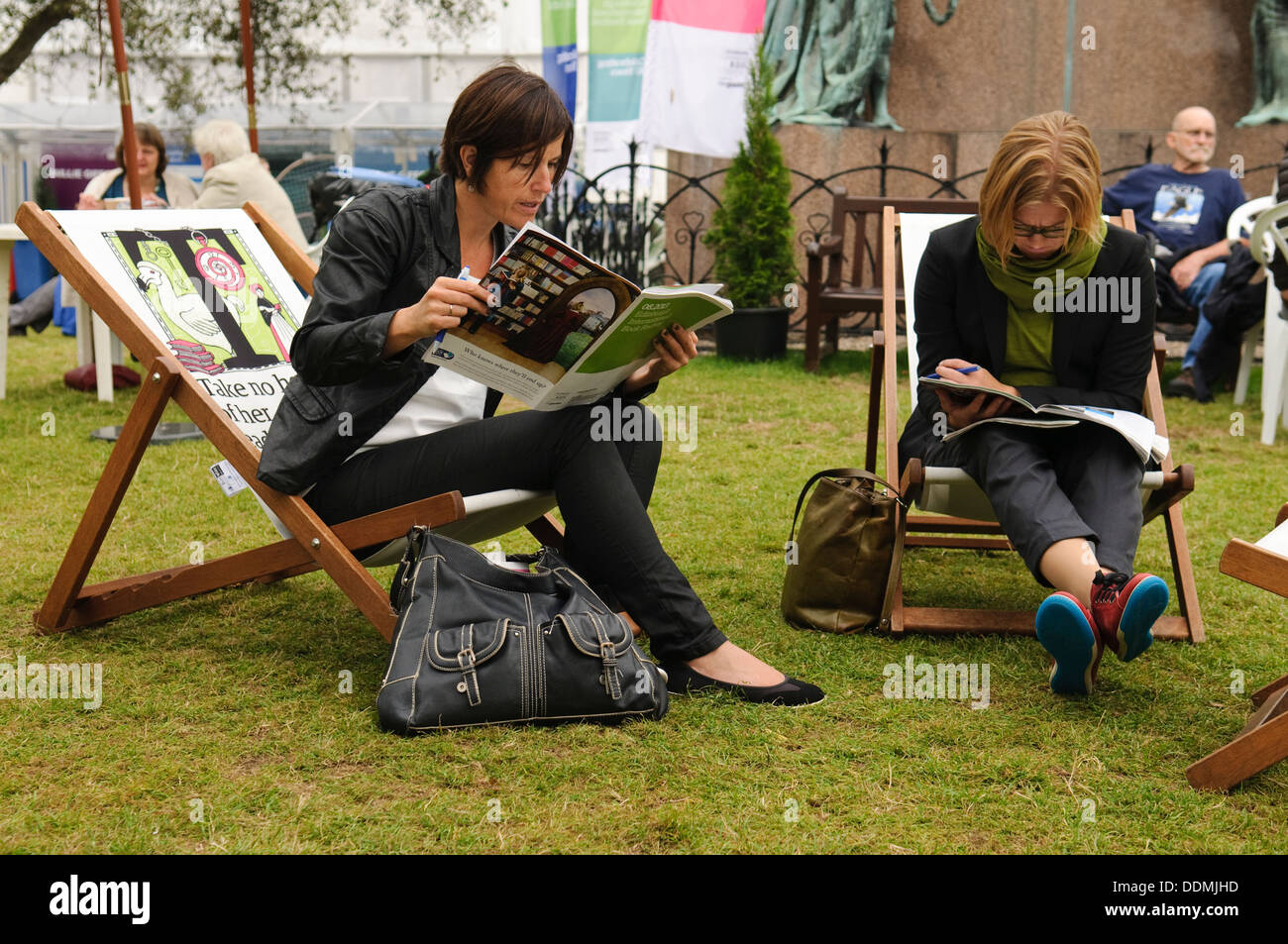 Visitors to the Edinburgh International Book Festival. - Stock Image