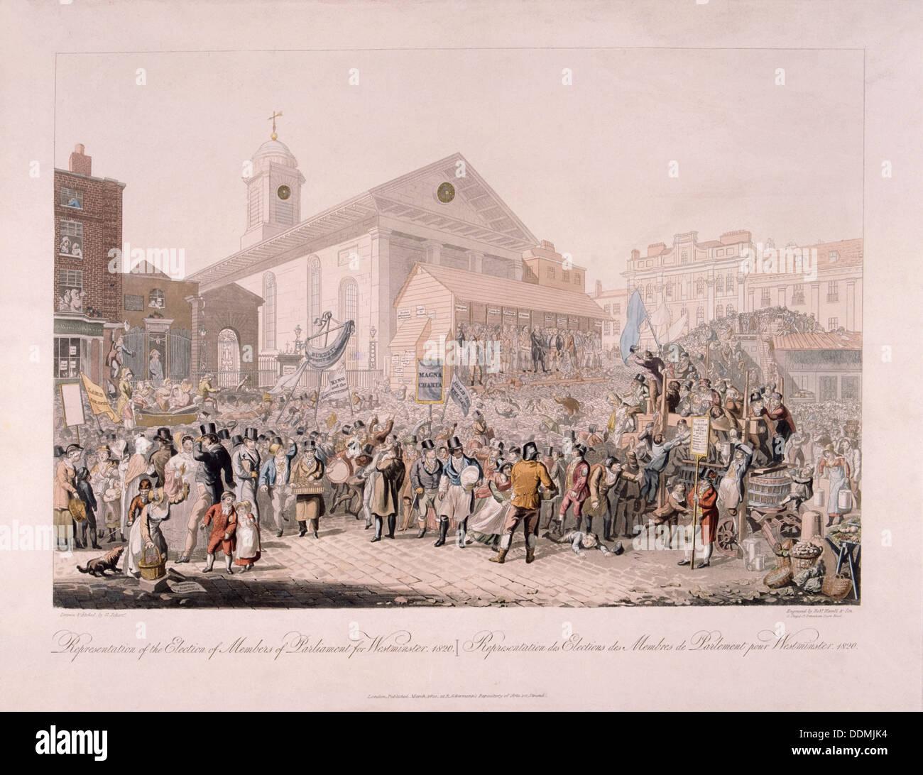 Election in Covent Garden, London, 1818. Artist: Rudolph Ackermann - Stock  Image