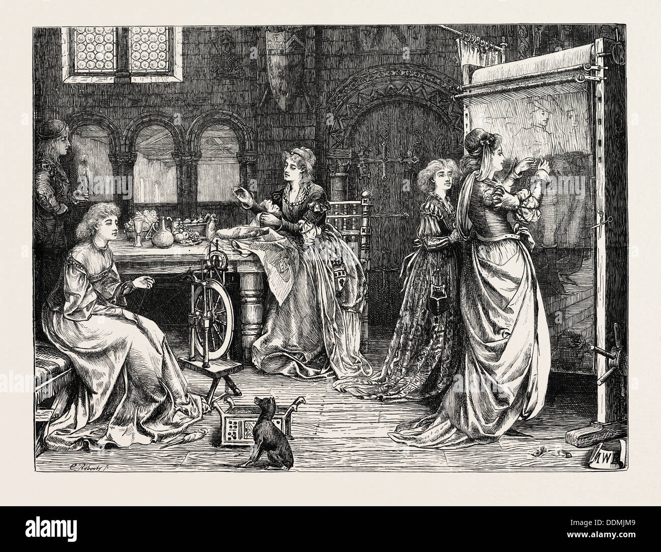 NEEDLEWORK IN THE OLDEN TIME: LADIES AT TAPESTRY WORK - Stock Image