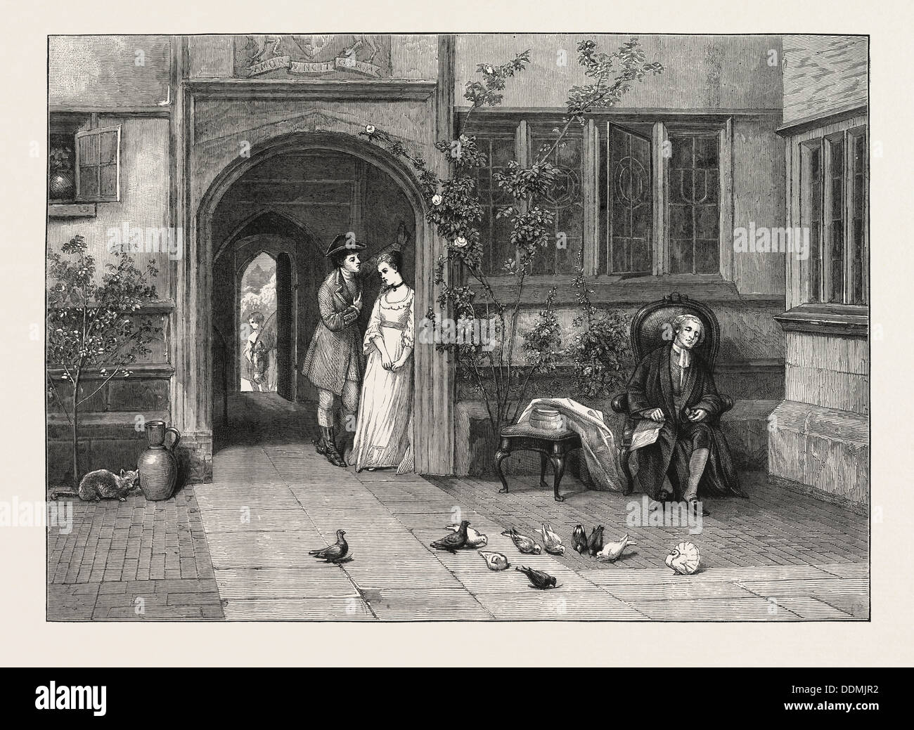 PLEADING THE OLD CAUSE, FROM THE PAINTING BY W.F. YEAMES, A.R.A., IN THE ROYAL ACADEMY, UK, 1873 - Stock Image