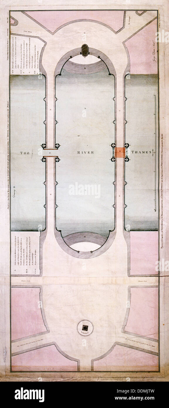 Plan of the old and new London Bridge, 1800. Artist: Anon - Stock Image