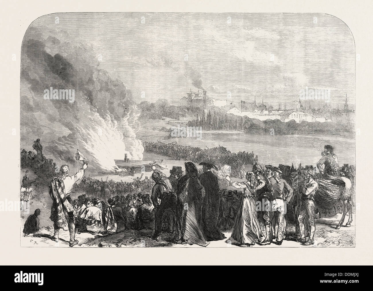 THE REVOLUTION IN SPAIN: BURNING THE GAROTTING SCAFFOLD AT MADRID, 1868 - Stock Image