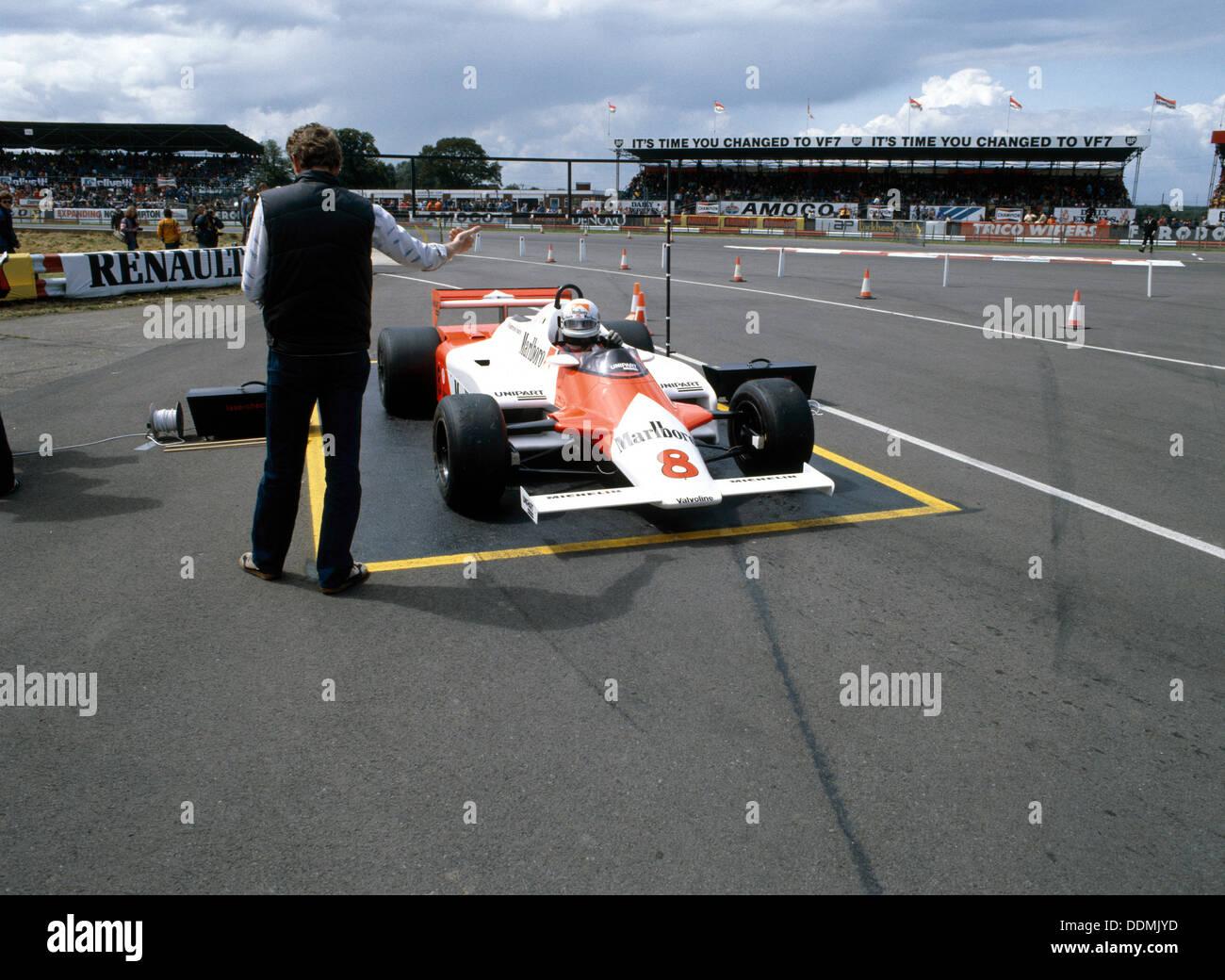 Andrea de Cesaris in a McLaren-Cosworth MP4, British Grand Prix, Silverstone, 1981. - Stock Image