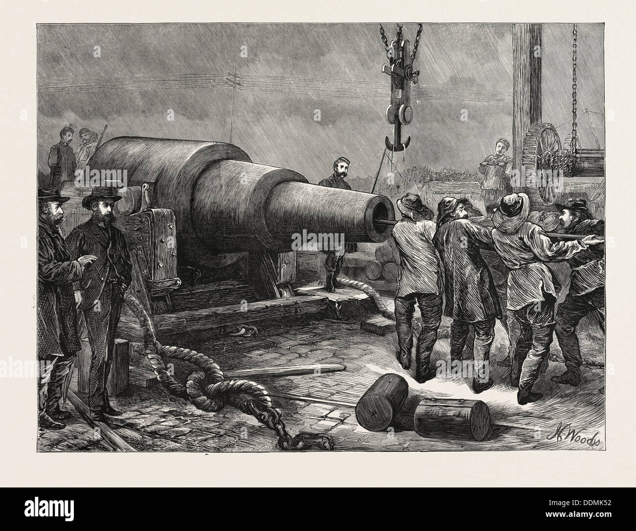 TESTING THE 35 TON GUN AT WOOLWICH, UK, 1871 - Stock Image