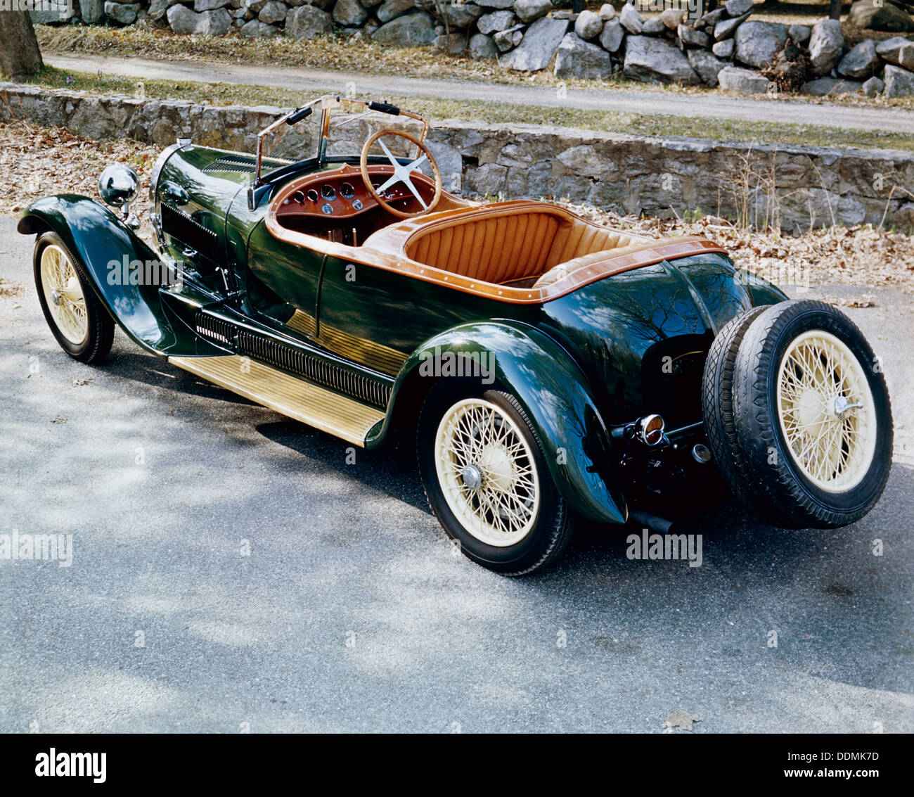 A 1928 Bugatti Type 44 viewed from the rear. - Stock Image
