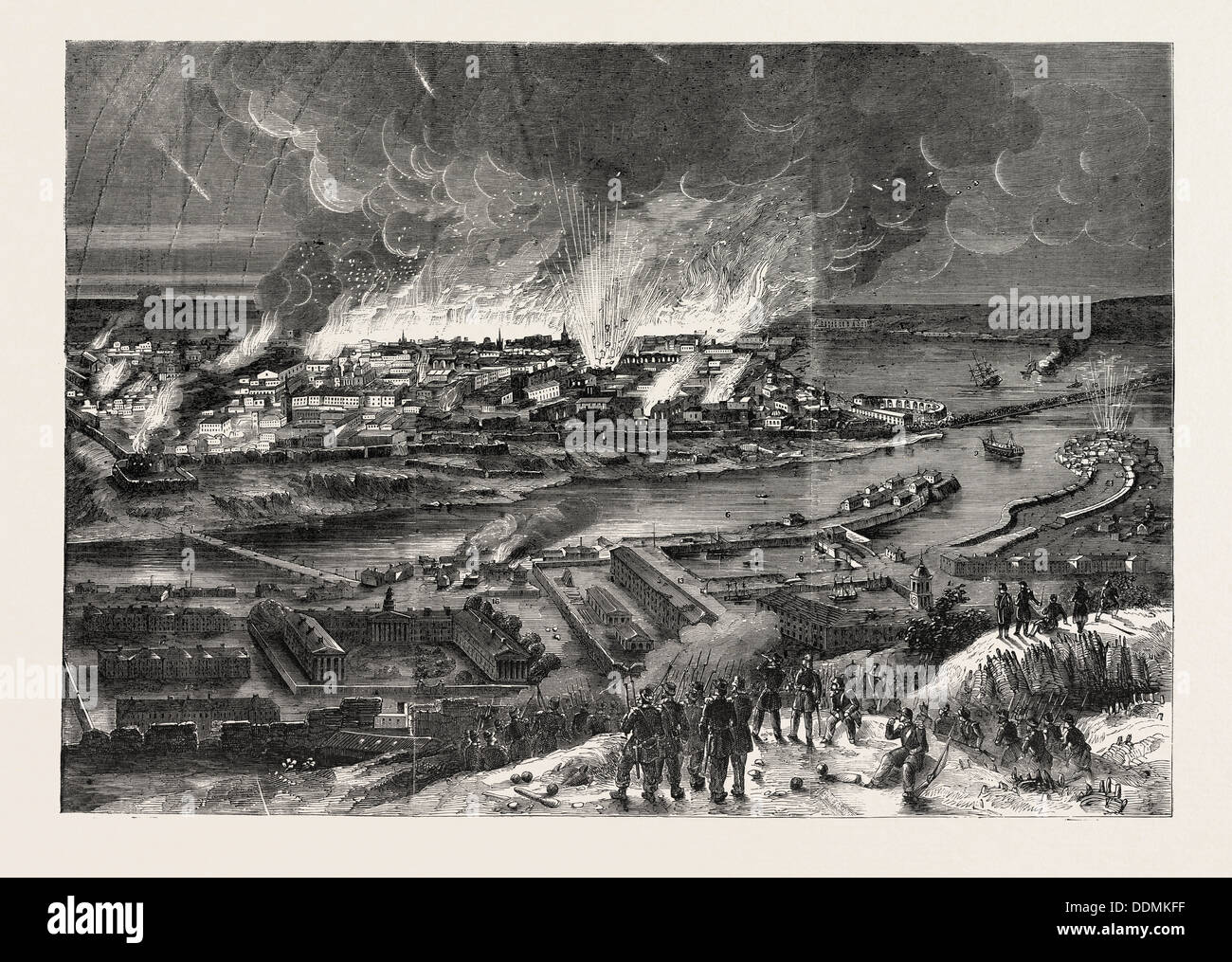 THE CRIMEAN WAR: CONFLAGRATION OF SEBASTOPOL, ON THE MORNING OF SEPTEMBER 9, 1855, FROM THE HEIGHT - Stock Image