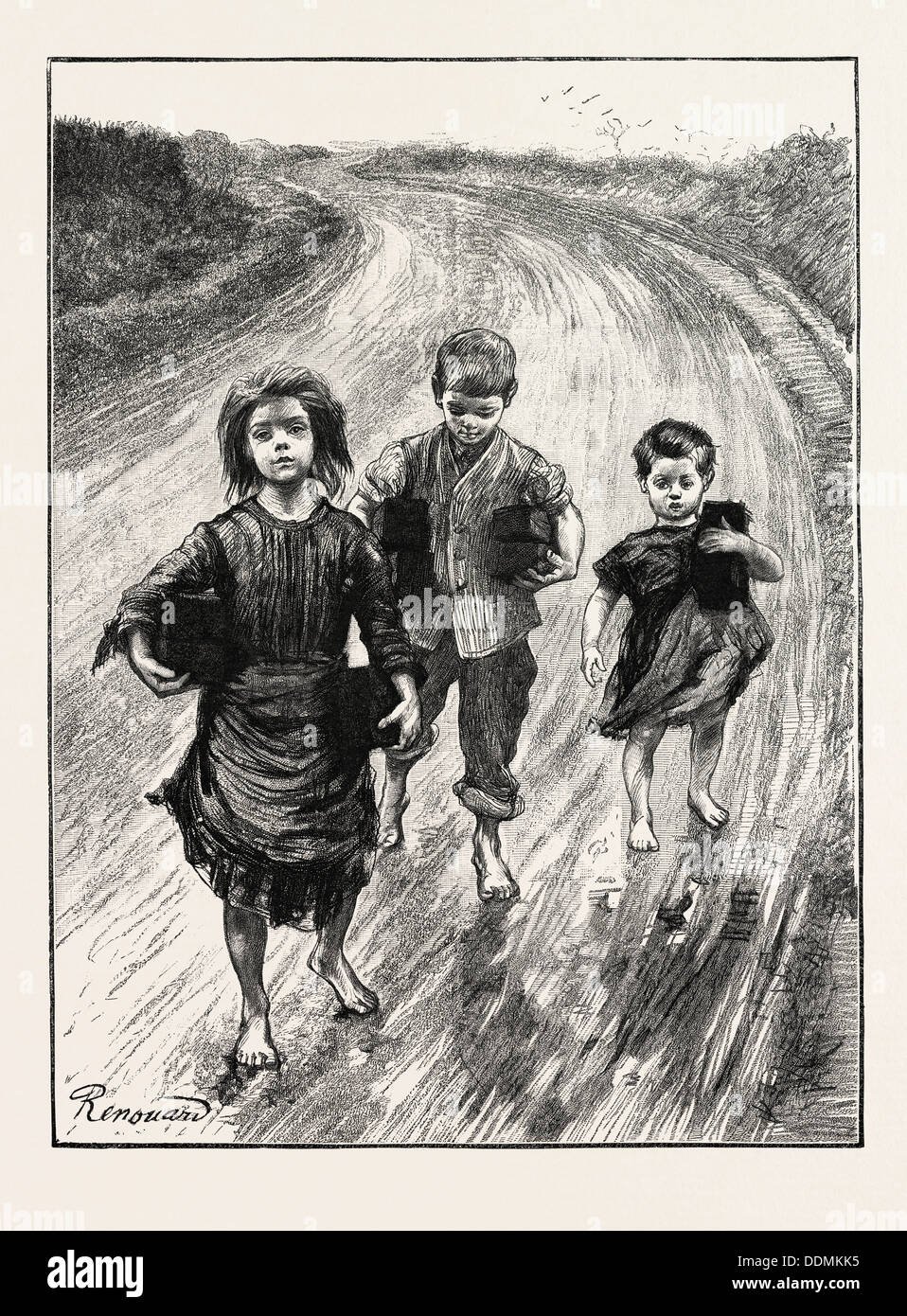 CHILDREN CARRYING TURF TO PAY THEIR SCHOOL FEES, IRELAND, 1888 engraving - Stock Image