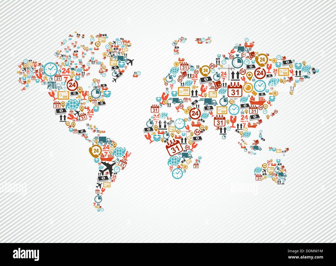 Shipping and delivery icons in world map shape illustration. Vector on united states map, editable map, flat global map, can i highlight map,