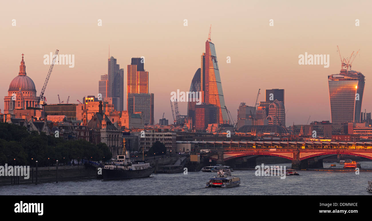 River Thames - City of London skyline - Stock Image