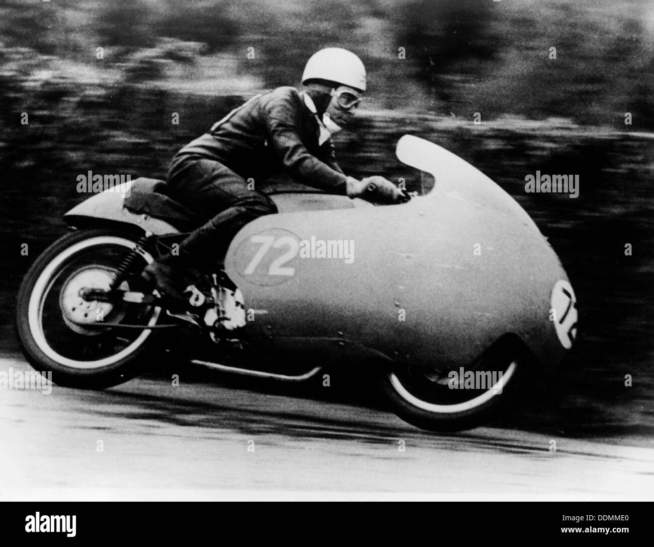 Possibly Bill Lomas, on a Moto Guzzi V8, 1957. - Stock Image