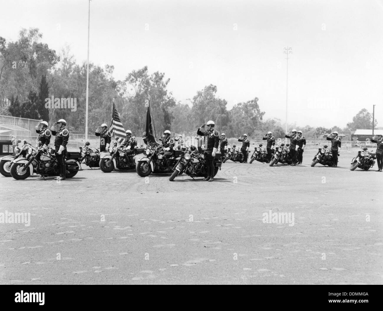 A police patrol with their Harley-Davidsons, America. - Stock Image