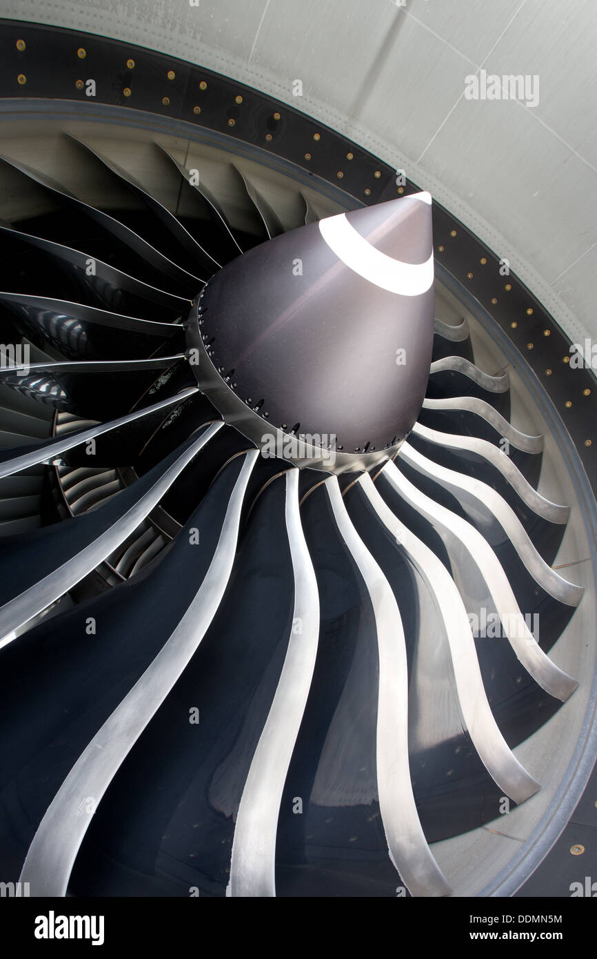 Close up of jet engine on commercial aircraft - Stock Image
