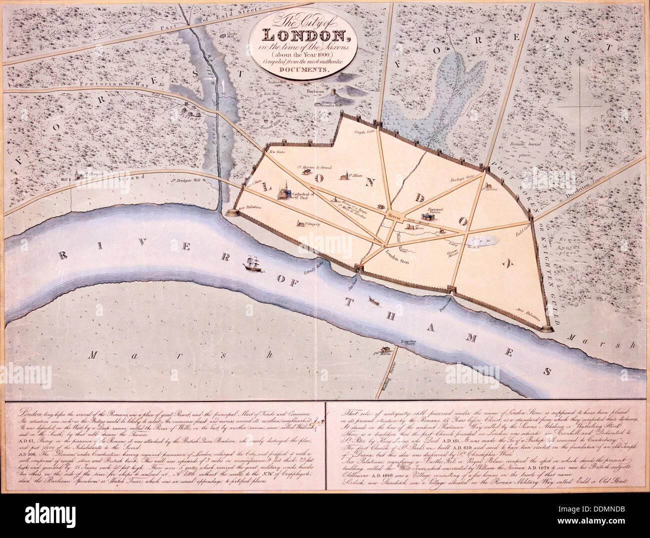 Map of London, c1000. Artist: Anon Stock Photo