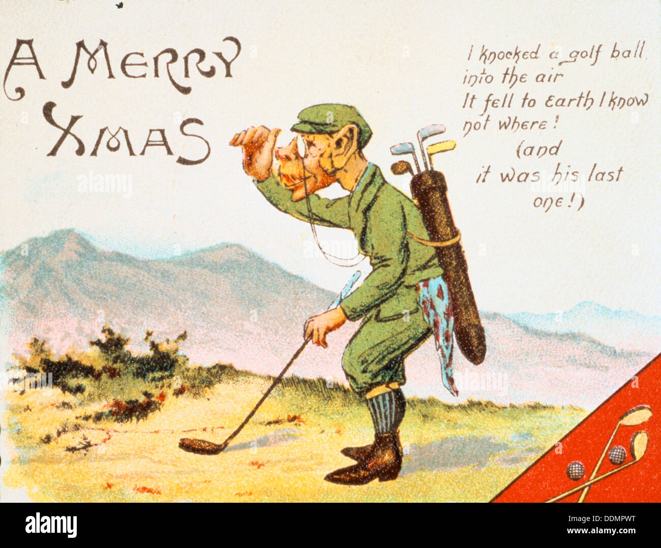 Christmas Card Artist.Golfing Christmas Card British 1910 Artist Unknown Stock