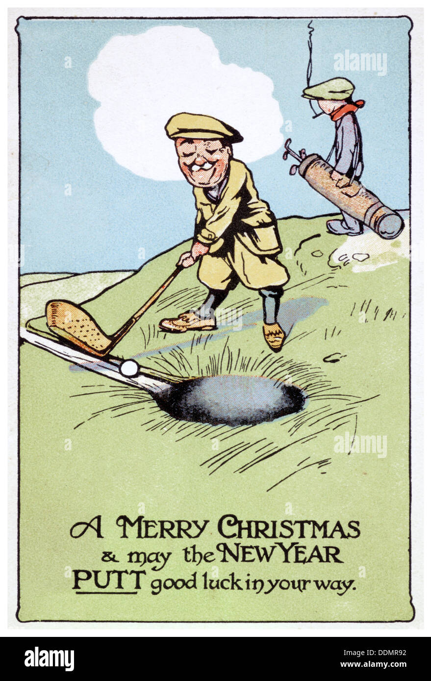 Christmas Card Artist.Christmas Card With Golfing Theme British 1913 Artist