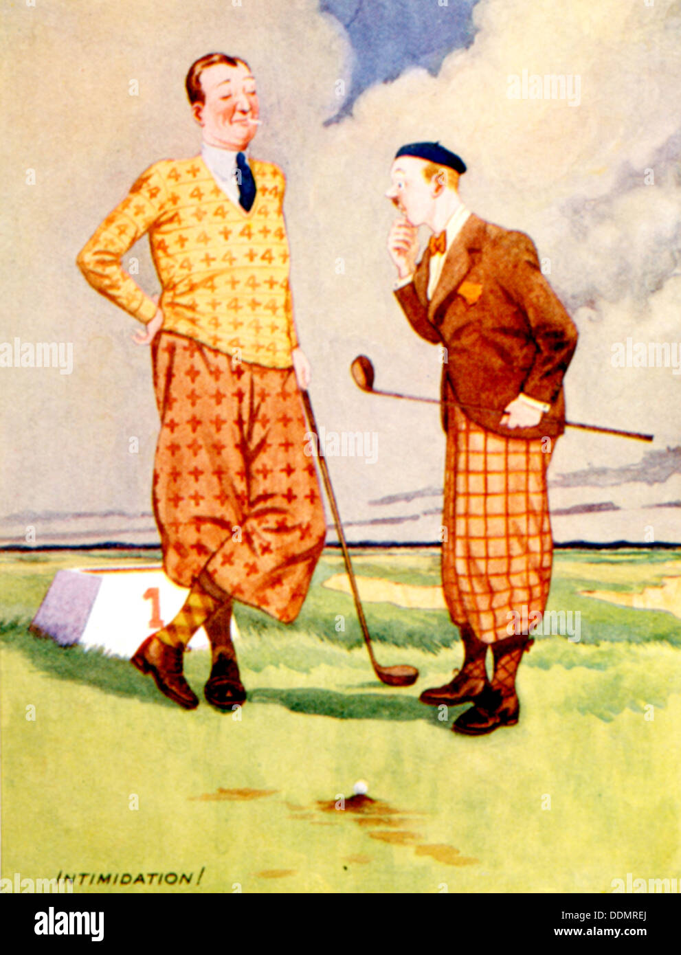 Golfing cartoon, British, c1920s. - Stock Image