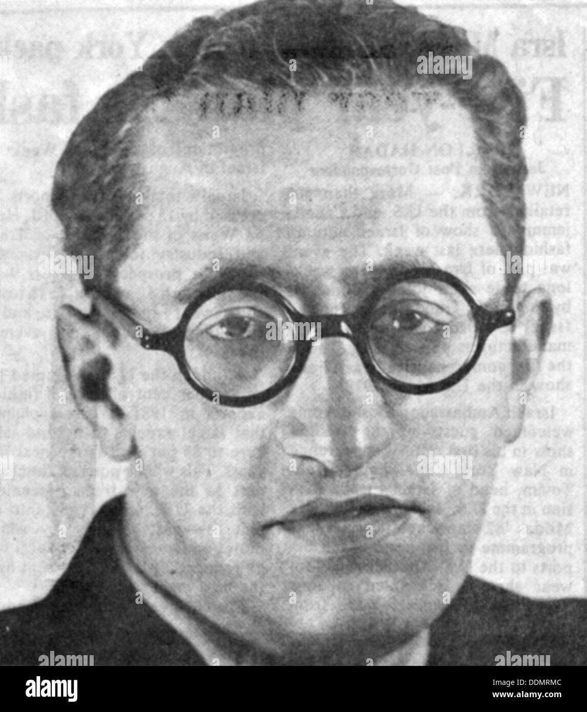 Viktor (Haim) Arlosoroff, Jewish law student who had an affair with Magda Goebbels, 1929. - Stock Image