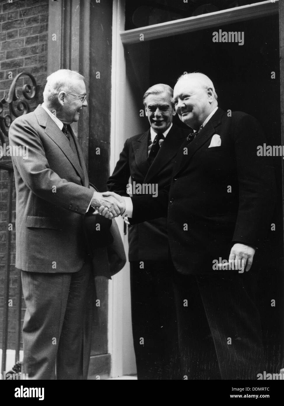Sir Winston Churchill (1874-1965), John Foster Dulles (US Sec of State), Anthony Eden, c1952. - Stock Image