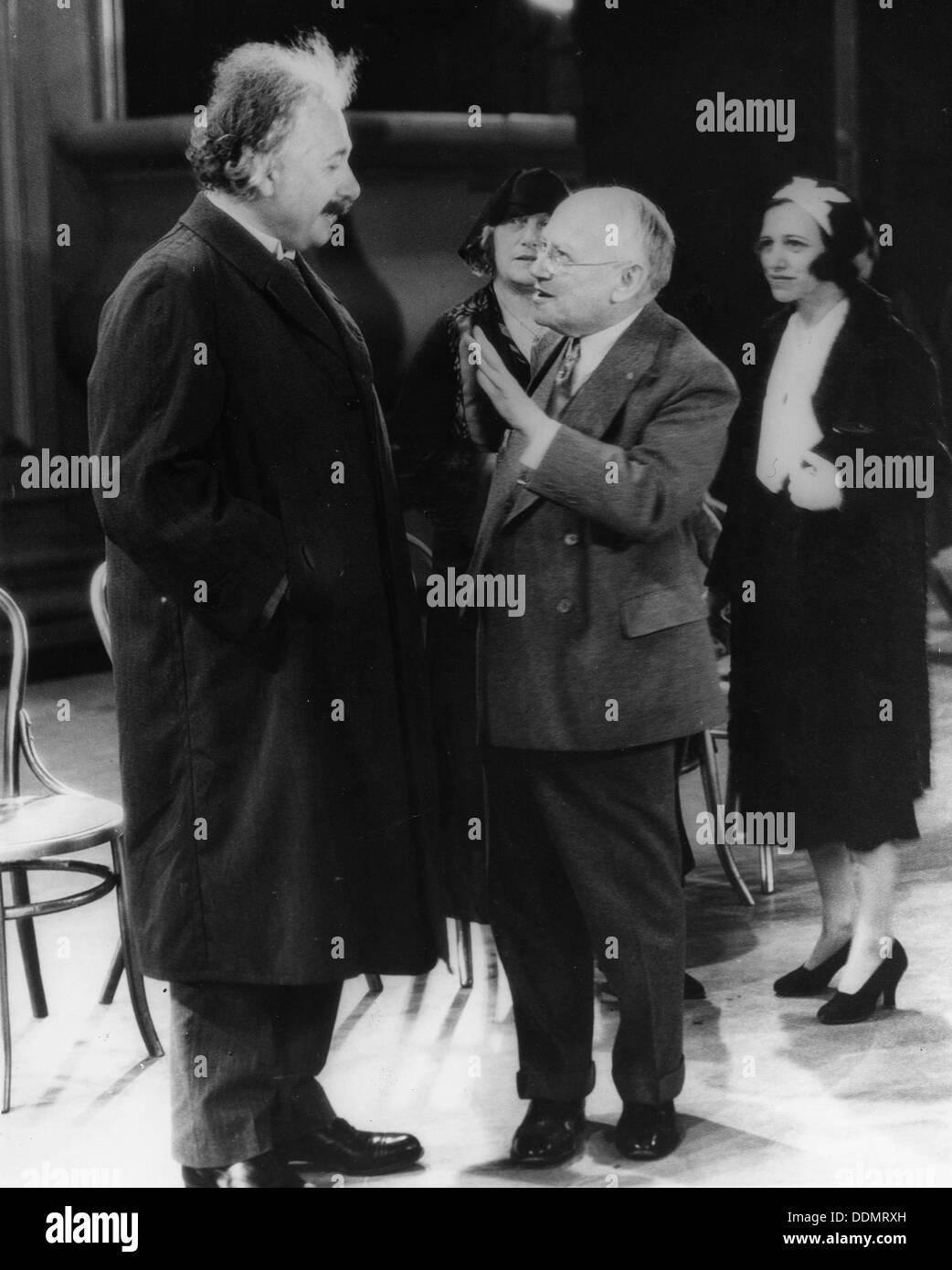 Albert Einstein (1879-1955) with Carl Laemmle (1867-1939), movie mogul, 1931. - Stock Image