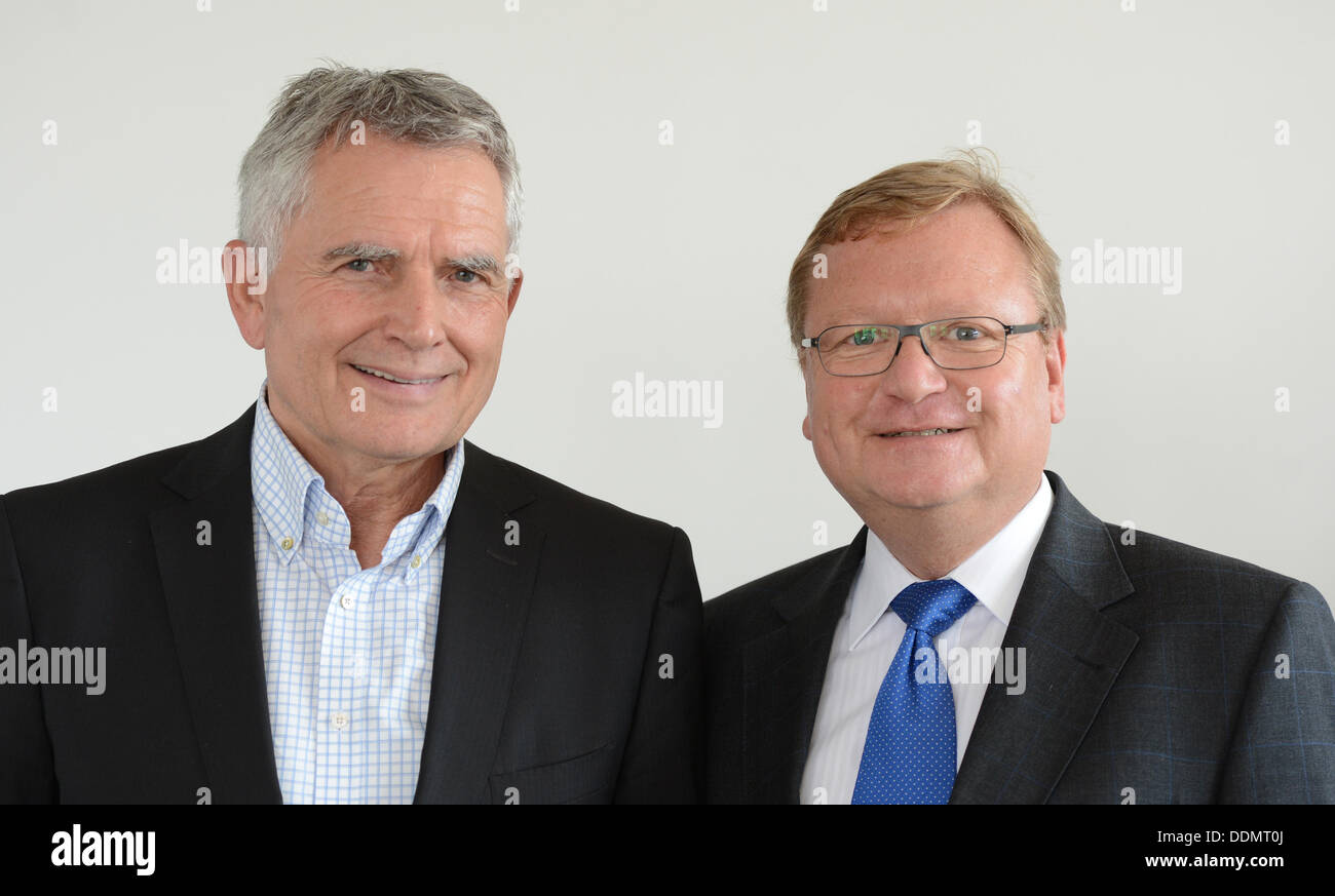 The new head of the managing board of DB Projekt Stuttgart-Ulm GmbH, a project-based company of the German railway company 'Deutsche Bahn' (DB), Manfred Leger (R), and his spokesperson Wolfgang Dietrich stand next to each other in Stuttgart, Germany, 29 August 2013.  Photo: Franziska Kraufmann - Stock Image