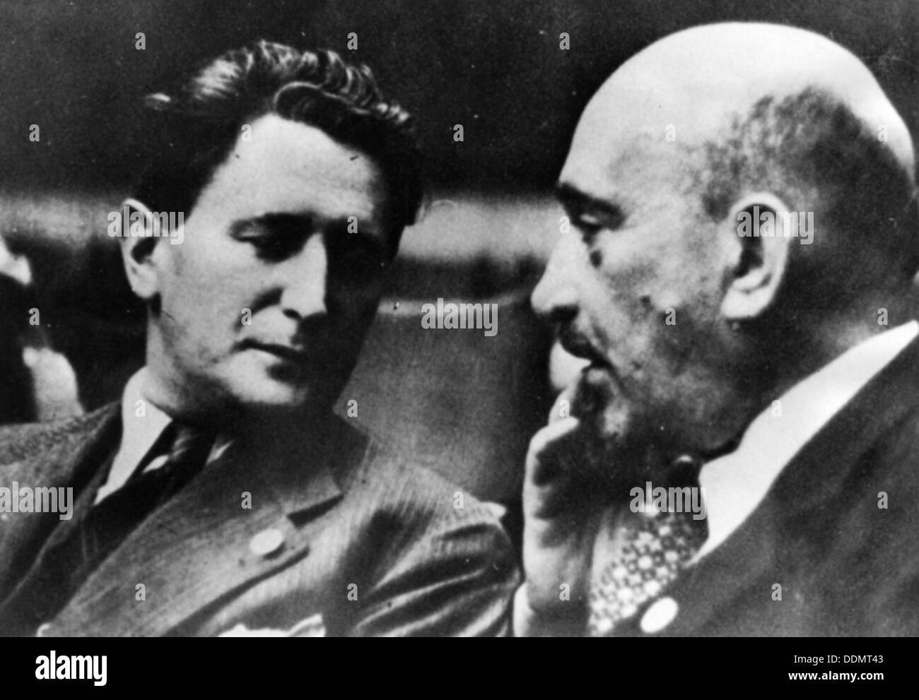 Nahum Goldmann (1894-1982), and Chaim Weizmann (1874-1952), Zionist and World Jewish Leaders. Stock Photo