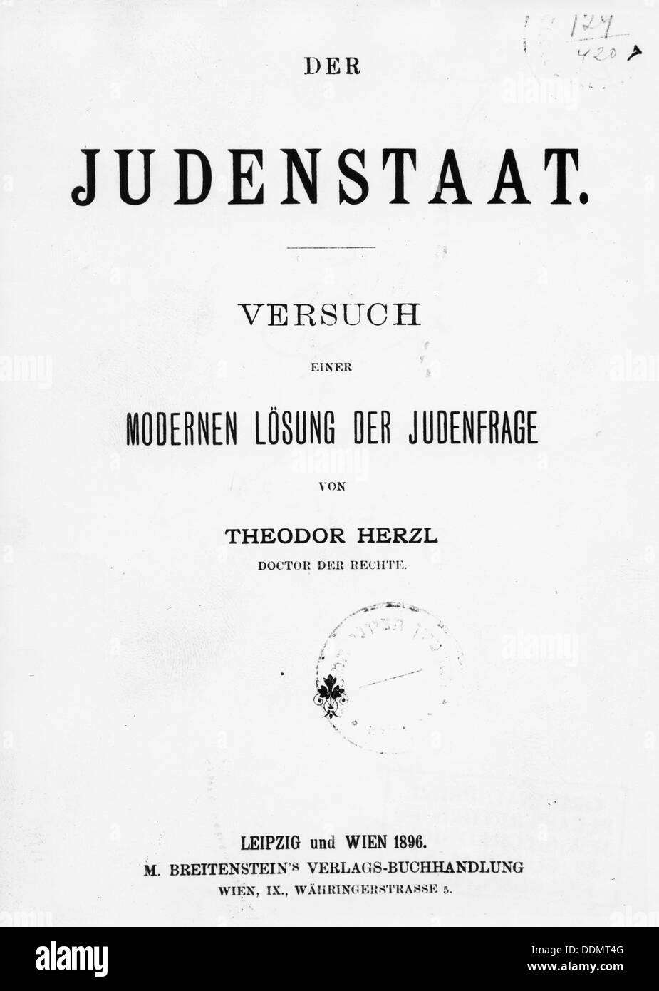 'Judenstaat' ('The Jewish State') by Theodore Herzl, published 1896. Artist: Theodor Herzl - Stock Image