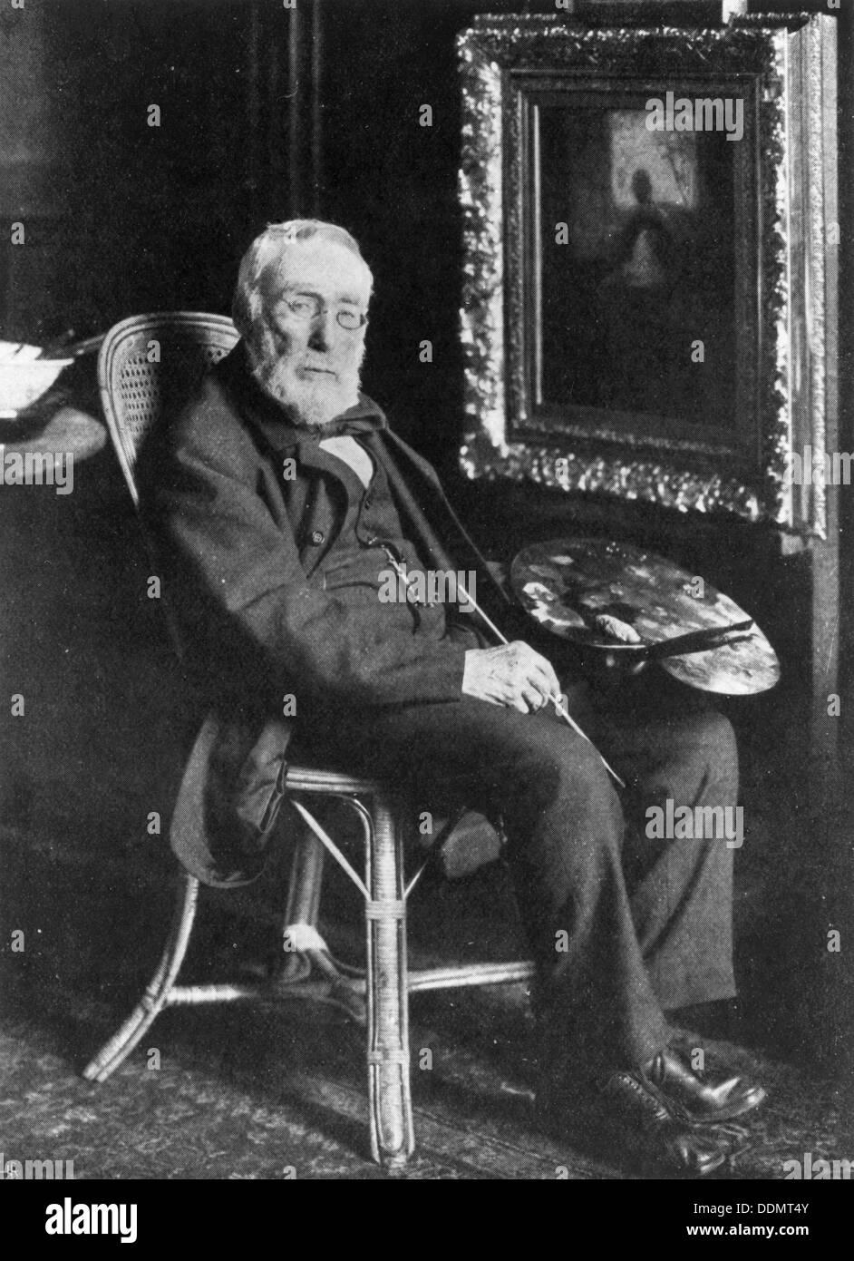 Jozef Israels (1824-1911), Dutch painter, in his studio. - Stock Image