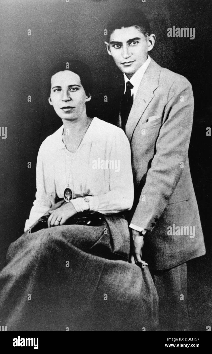 Franz Kafka (1883-1924), Czech writer, with Felice Bauer during their second engagement, 1917. Stock Photo