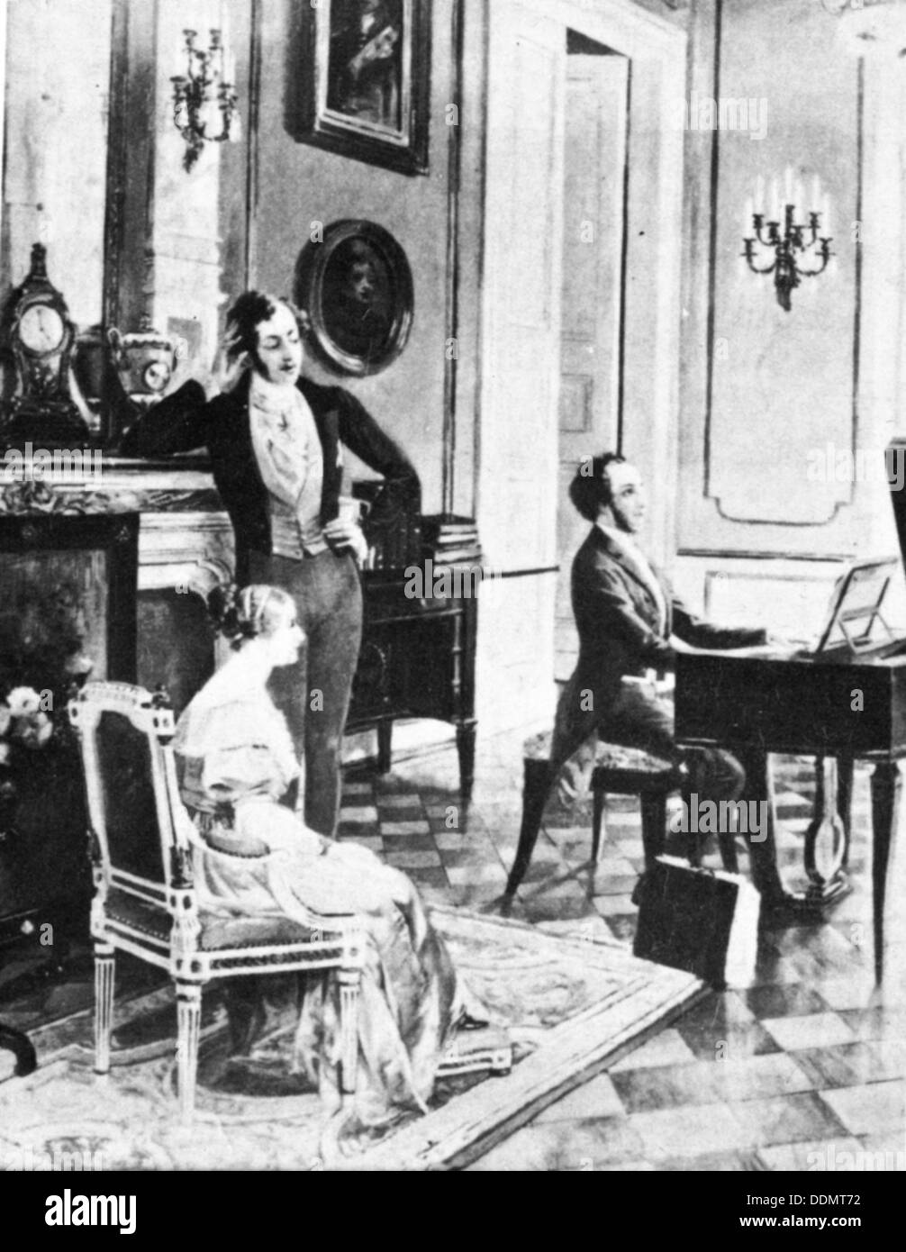 Felix Mendelssohn (1809-1847), performing for Queen Victoria and Prince Albert at Buckingham Palace. Stock Photo