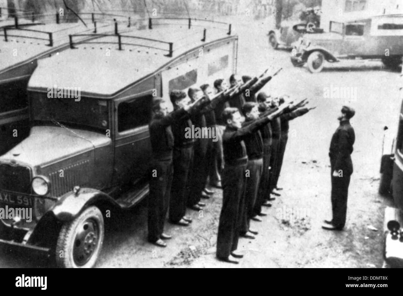 British Union of Fascists' Mobile Defence Squad parades its van at Black House, Chelsea, c1934. - Stock Image