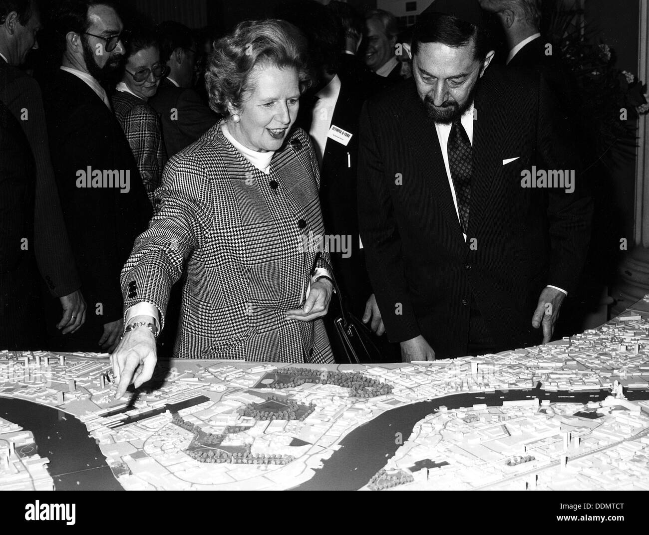 Margaret Thatcher (1925- ), British Prime Minister, viewing the Canary Wharf scheme, 1988. Stock Photo