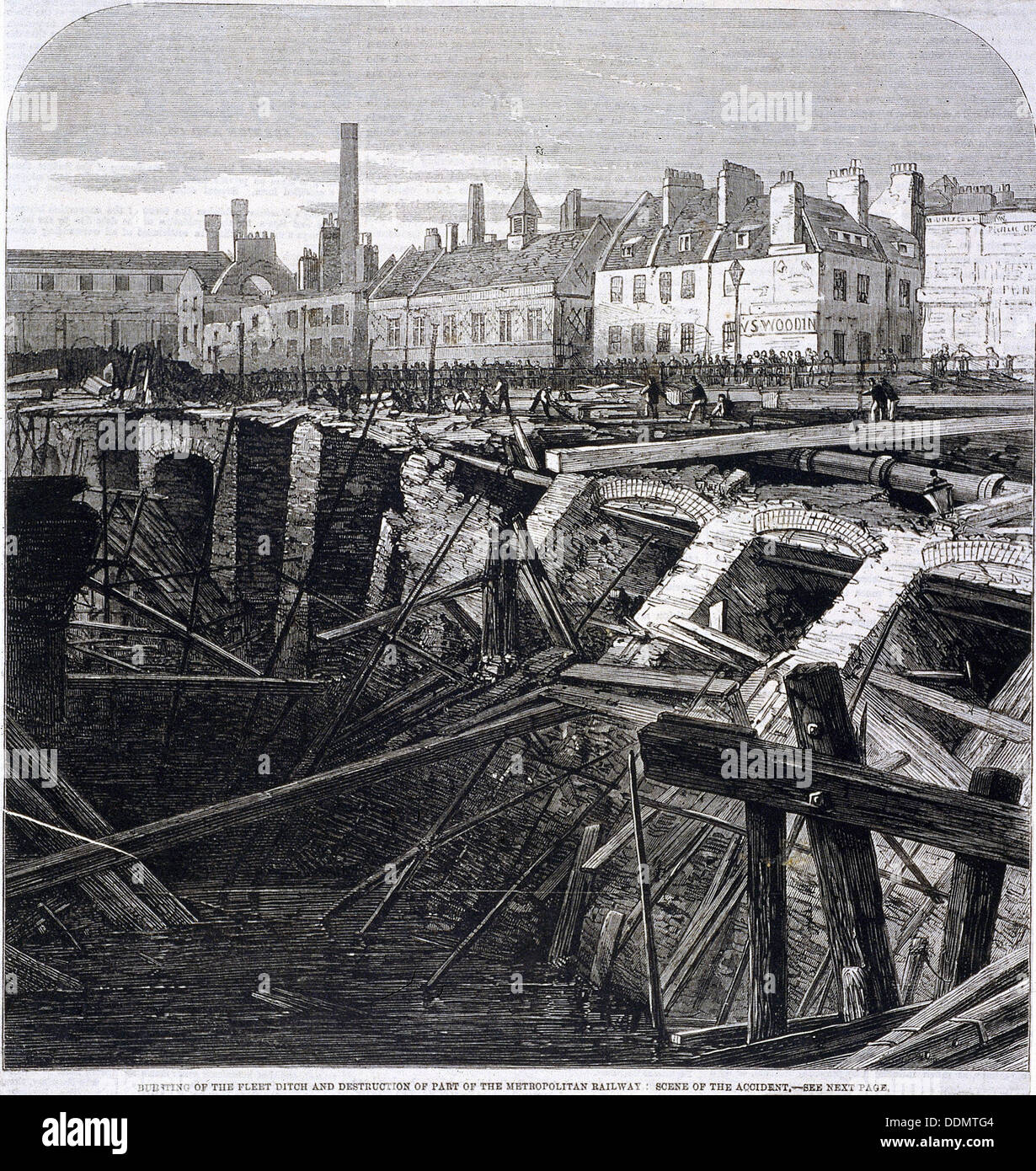 Accident in Farringdon Street, London, 1862. Artist: Anon Stock Photo