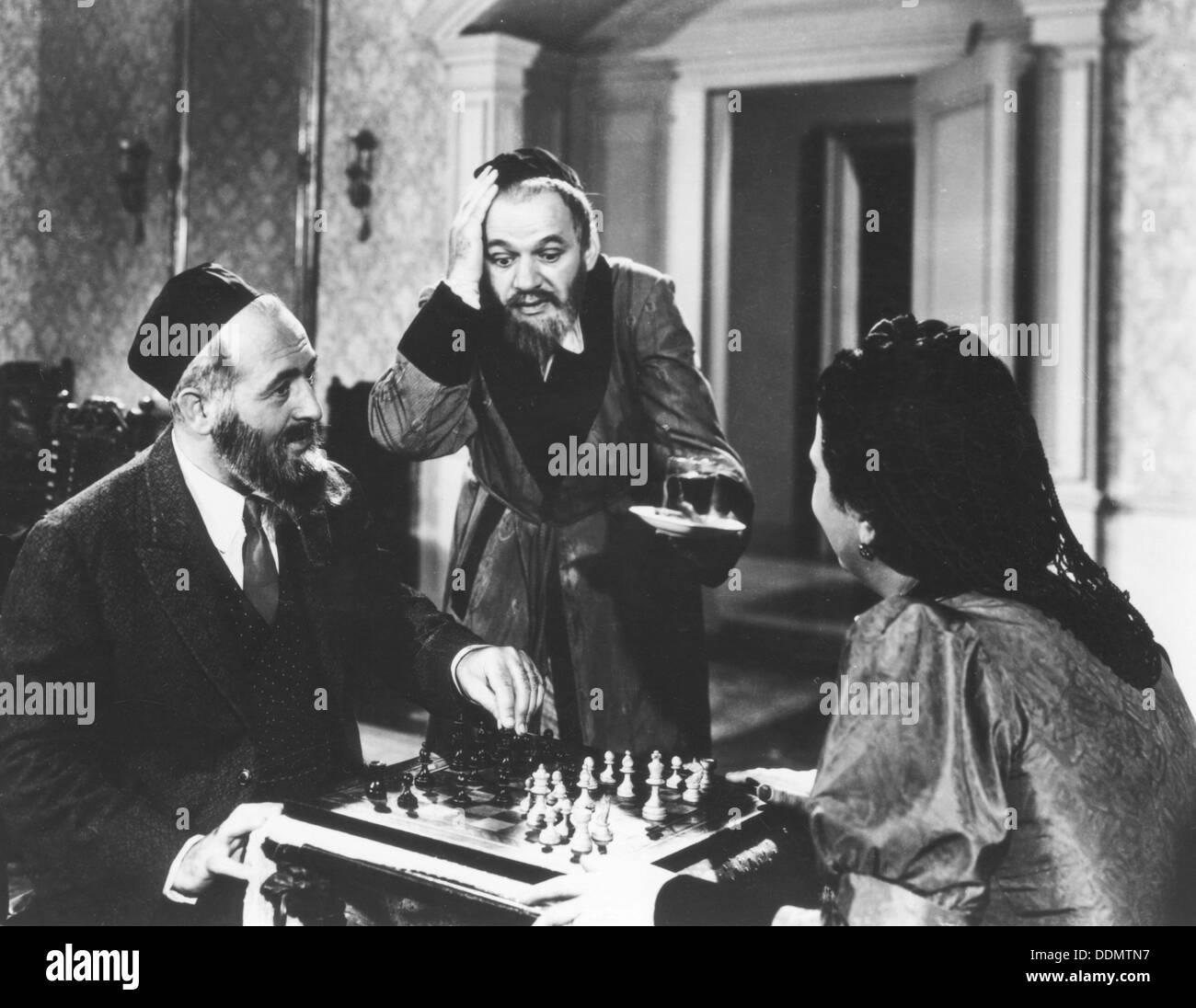 Chess scene from Mirele Efros, 1938. - Stock Image