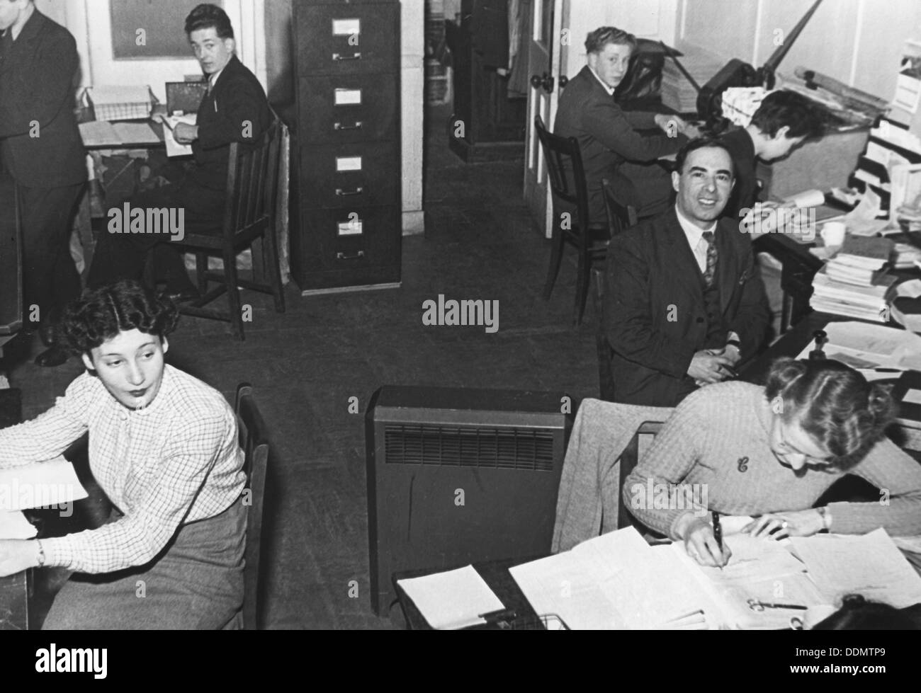 General office of the Jewish Chronicle newspaper, London, 1951. Artist: EH Emanuel - Stock Image