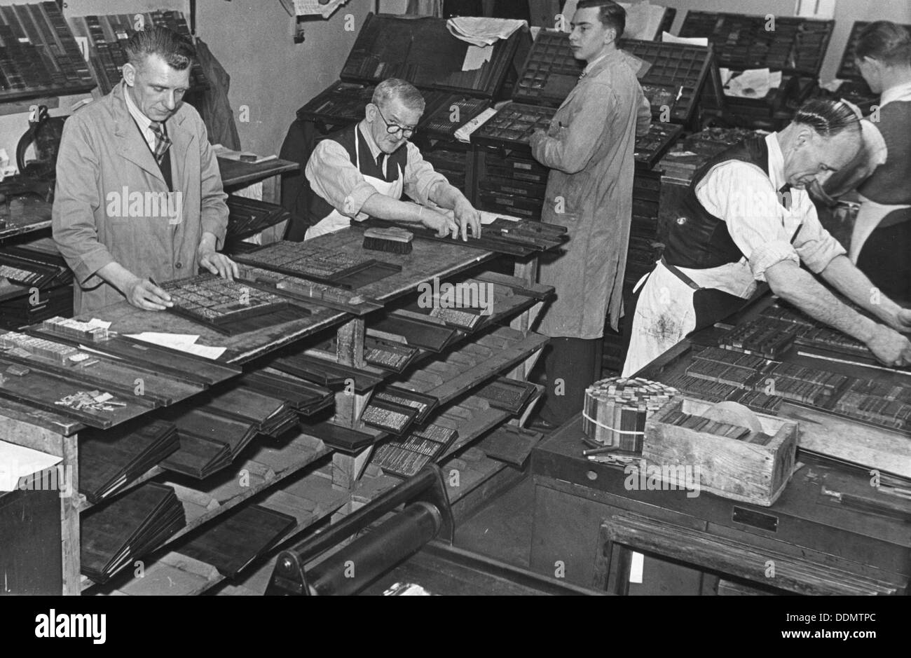 Printing room at the Jewish Chronicle, London, c1951. Artist: EH Emanuel Stock Photo